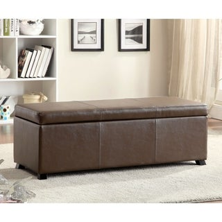 Furniture of America Dennys Brown Upholstered Storage Ottoman