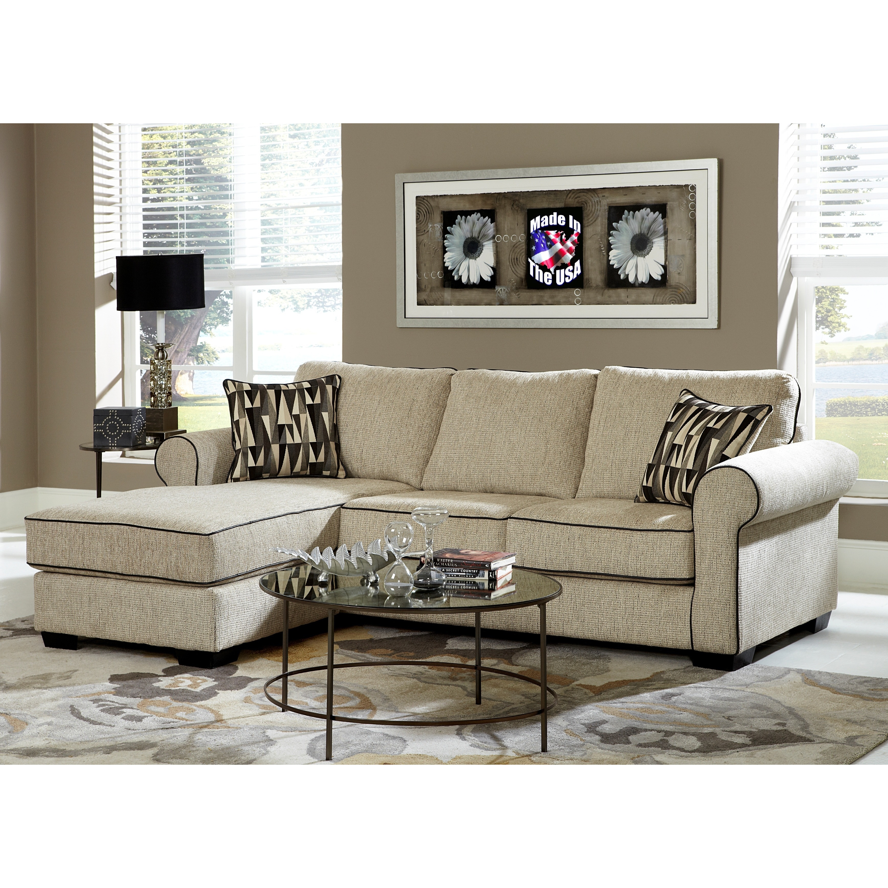 Cream Chenille Reversible Sofa Chaise Sectional (Cream Ch...