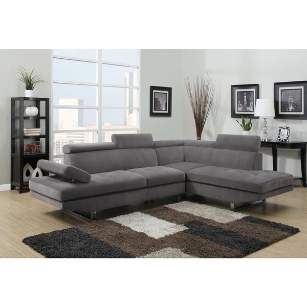 Gray textured sateen sectional free shipping today for Canape d angle cuir gris anthracite