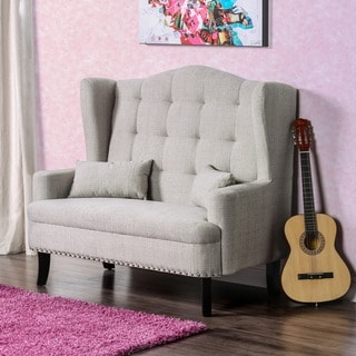 Furniture of America Vierre Romantic Wingback Tufted Loveseat Bench