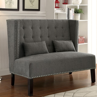 Furniture of America Miere Romantic Tufted Wingback Loveseat Bench