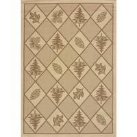 """Terrace Lodge-look Renee Pine Indoor/ Outdoor Area Rug - 5'3"""" x 7'6"""""""