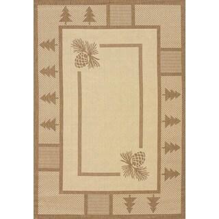 """Terrace Lodge-look Hester Pine Indoor/ Outdoor Area Rug (5'3 x 7'6) - 5'3"""" x 7'6"""""""