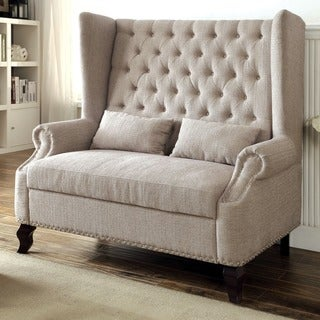 Furniture of America Allier Romantic Tufted Wingback Loveseat Bench