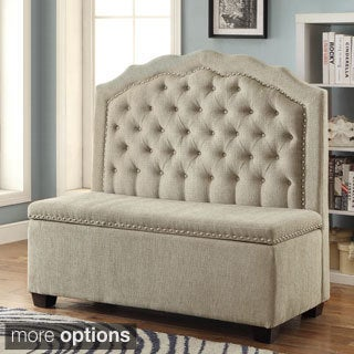 Furniture of America Ellare Romantic Tufted Storage Loveseat Bench