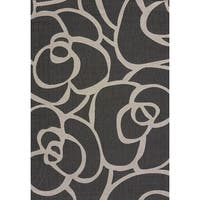 Flat-weave Terrace Lindsay Silver Indoor/Outdoor Area Rug (7'10 x 10'6) - 7'10 x 10'6