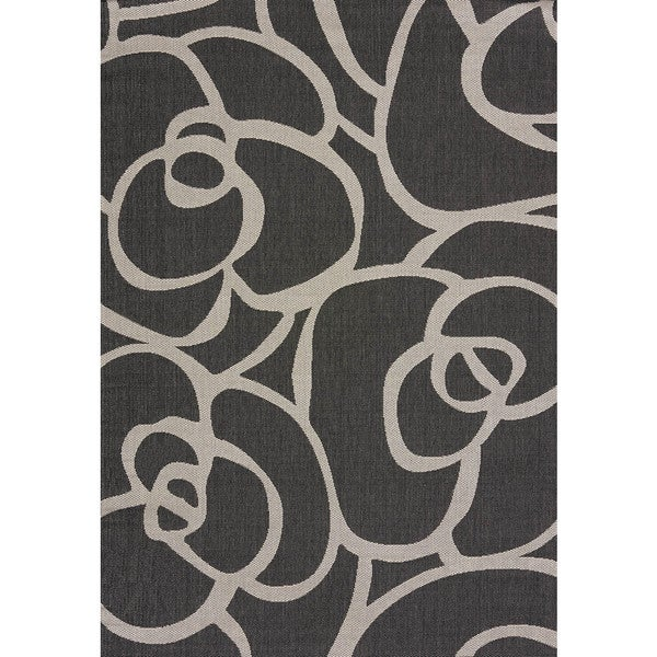 Flat-weave Terrace Lindsay Silver Indoor/Outdoor Area Rug - 7'10 x 10'6
