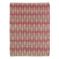 Handmade Natural Fiber Cayon Pink Rug (2'0 x 3'0)