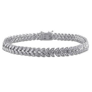 Miadora Sterling Silver 1ct TDW Diamond Leaf Bracelet