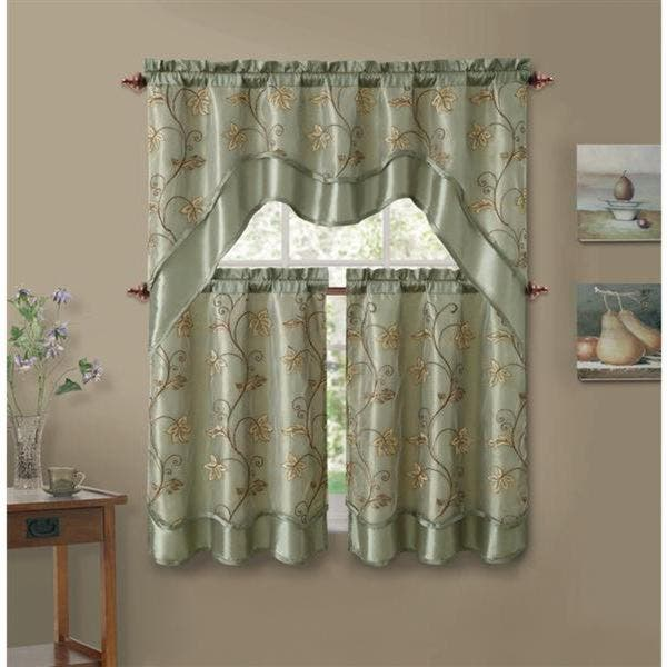 Shop VCNY Audrey 3-piece Kitchen Tier Curtain Set - Free ...