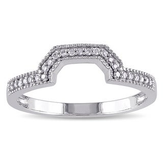 Miadora 10k White Gold 1/10ct TDW Diamond Contour Wedding Band (G-H, I2-I3)