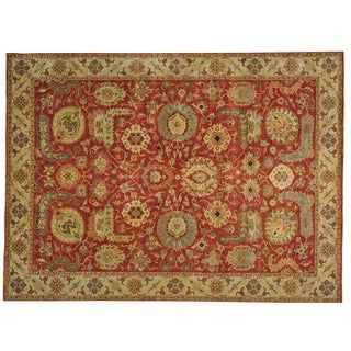Hand Knotted Antiqued Heriz Recreation Oriental Rug (9' x 12'1)