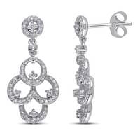 Miadora 10k White Gold 1/2ct TDW Diamond Chandelier Earrings