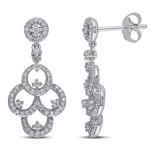 Miadora 10k White Gold 1/2ct TDW Diamond Chandelier Earrings