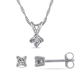 Miadora 14k White Gold 2/5ct TDW Princess-cut Diamond Earrings and Necklace Set (I-J, I2-I3)
