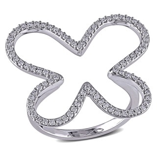 Miadora Signature Collection 14k White Gold 2/5ct TDW Diamond Butterfly Ring (G-H, SI1-SI2)