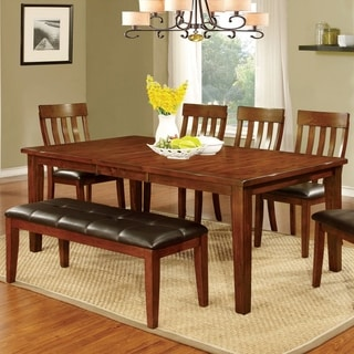 Furniture of America Zevo Country Cherry Solid Wood 6-piece Dining Set