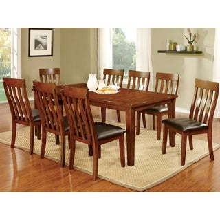 Furniture of America Zevo Country Cherry Solid Wood 9-piece Dining Set