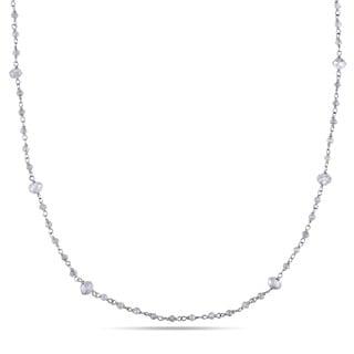 Miadora 18k White Gold 12 1/4ct TDW Diamond Bead Station Necklace