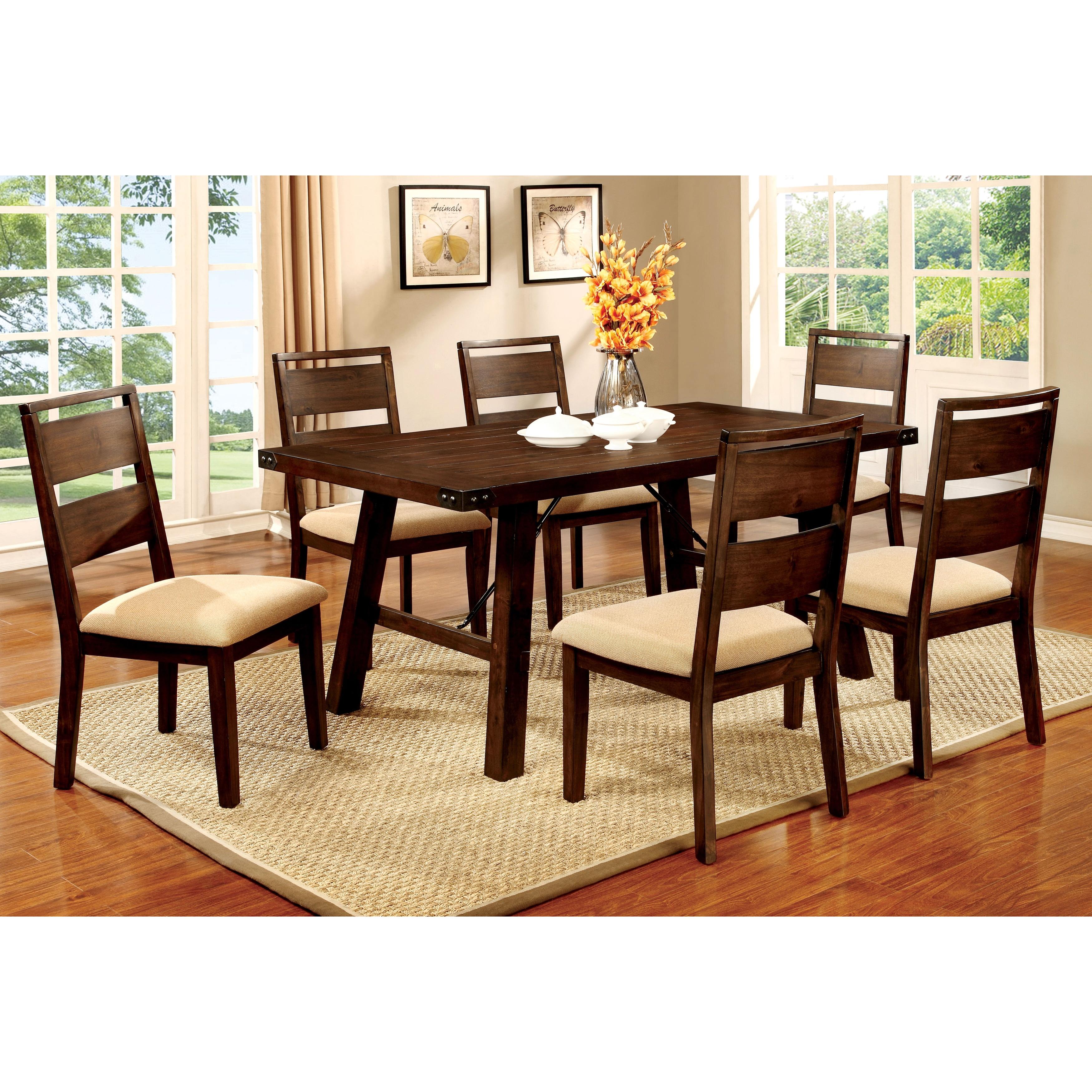 Furniture of America Montelle 7-piece Dark Oak Dining Set...