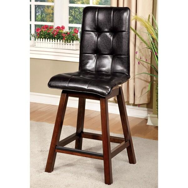 Furniture of America Kirill Dark Cherry Faux Leather