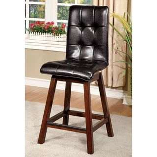 Furniture of America Kirill Dark Cherry Faux Leather Counter Height Swivel Chair (Set of 2)
