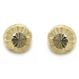 De Buman 14k Yellow Gold Knife Cut 'Secrets' Screw-back Earrings