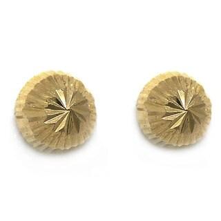 De Buman 14k Yellow Gold Knife-cut 'Secrets' Screw-back Round Earrings