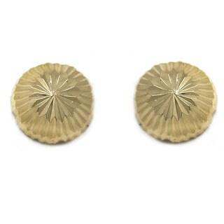 De Buman 14k Yellow Gold Knife-cut 'Secrets' Screw-back Earrings