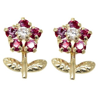 De Buman 14k Yellow Gold Red Crystal Flower Screw-back Earrings