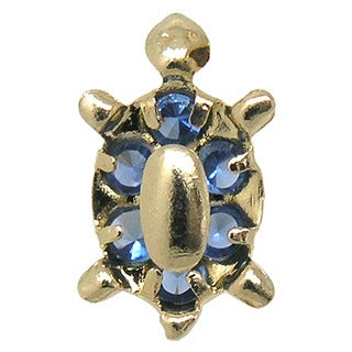 De Buman 14K Yellow Gold Blue Crystal, Green Crystal, White Crystal or Pink Crystal Turtle Screw back Earrings