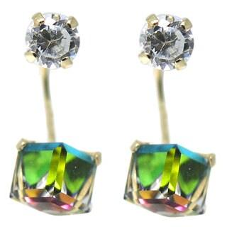 De Buman 14K Yellow Gold Mystic Crystal Double Stud Earrings