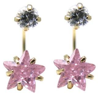 De Buman 14K Yellow Gold White Star Crystal, Red Star Crystal or Pink Star Crystal Double Stud Earrings