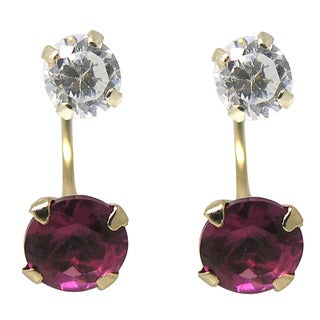 De Buman 14K Yellow Gold Hot Pink Crystal or White Crystal Double Stud Earrings