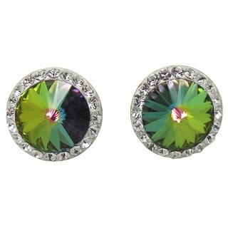 De Buman 14K Yellow Gold Hot Pink Crystal, Green Crystal, Champagne Color Crystal or Pink Crystal Screw back Earrings