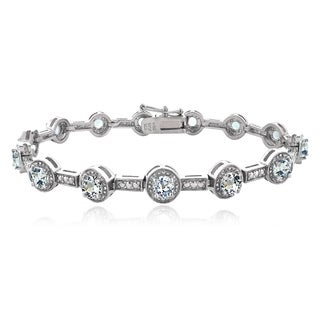 Glitzy Rocks Sterling Silver Aquamarine Bar and Circle Bracelet