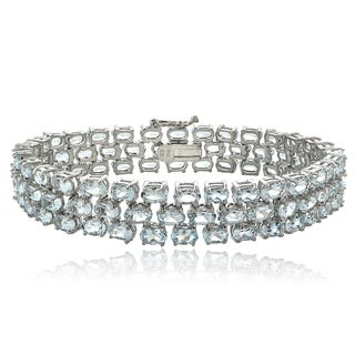 Glitzy Rocks Sterling Silver Aquamarine 3-row Bracelet