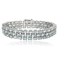 Glitzy Rocks Sterling Silver Aquamarine 3-row Bracelet