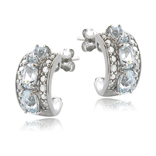 Glitzy Rocks Sterling Silver Aquamarine Diamond Accent Hoop Earrings
