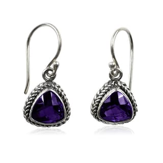 Handmade Sterling Silver Bali Faceted Triangle Amethyst Dangle Earrings (Indonesia)