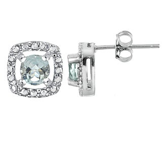 Glitzy Rocks Sterling Silver Aquamarine and Diamond Accent Halo Stud Earrings