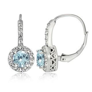 Glitzy Rocks Sterling Silver Aquamarine and White Topaz Leverback Earrings