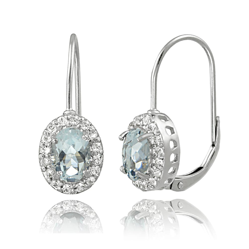 14K Yellow Gold 1.6Ct Created Diamond /& Topaz Teardrop Dangle Leverback Earrings