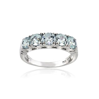 Glitzy Rocks Sterling Silver Aquamarine Ring