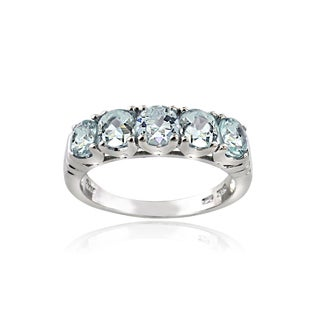 Glitzy Rocks Sterling Silver Aquamarine Eternity Ring