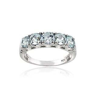 Glitzy Rocks Sterling Silver Aquamarine Ring