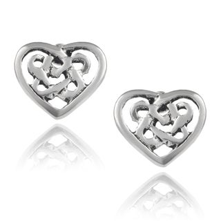 Journee Collection Sterling Silver Handcrafted Heart Stud Earrings