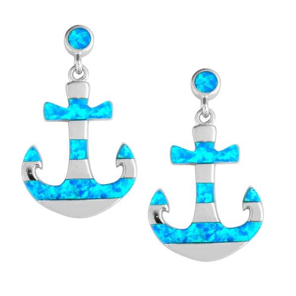 La Preciosa Sterling Silver Blue Opal Anchor Earrings