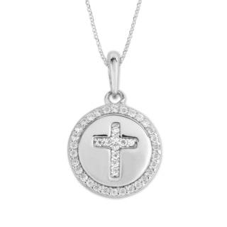 La Preciosa Sterling Silver Micropave Cubic Zirconia Cross Circle Necklace