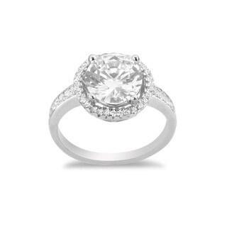 La Preciosa Sterling Silver Round and Micropave CZ Halo Engagement Ring